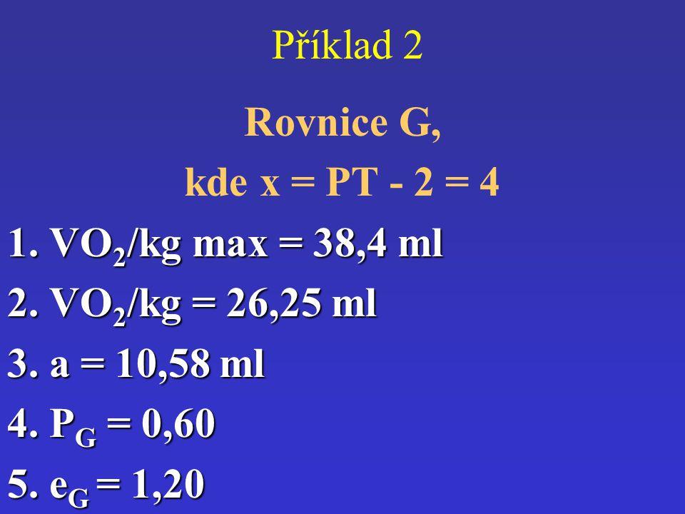 Příklad 2 Rovnice G, kde x = PT - 2 = 4. 1. VO2/kg max = 38,4 ml. 2. VO2/kg = 26,25 ml. 3. a = 10,58 ml.