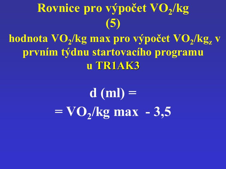 Rovnice pro výpočet VO2/kg (5) hodnota VO2/kg max pro výpočet VO2/kgz v prvním týdnu startovacího programu u TR1AK3