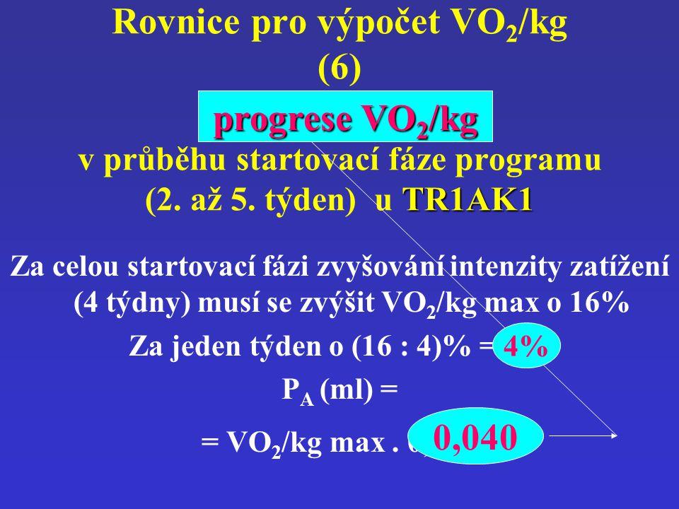 Rovnice pro výpočet VO2/kg (6) progrese VO2/kg v průběhu startovací fáze programu (2. až 5. týden) u TR1AK1