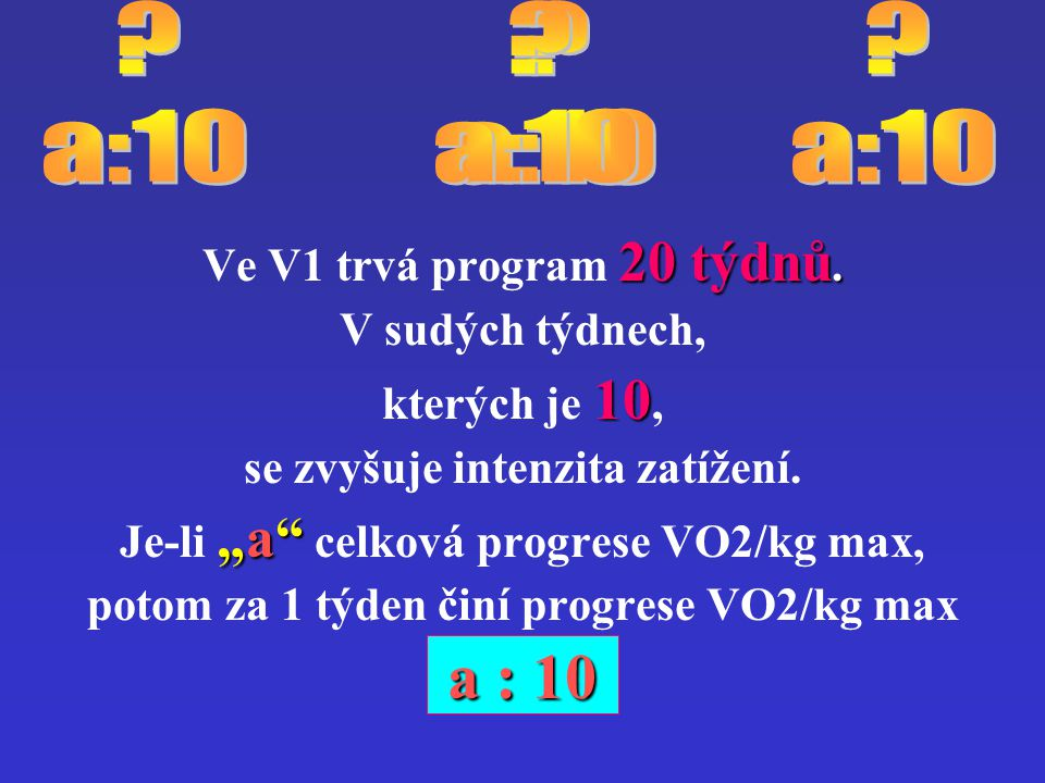 a : 10 a : 10 a:10 a:10 a:10 a:10 Ve V1 trvá program 20 týdnů.