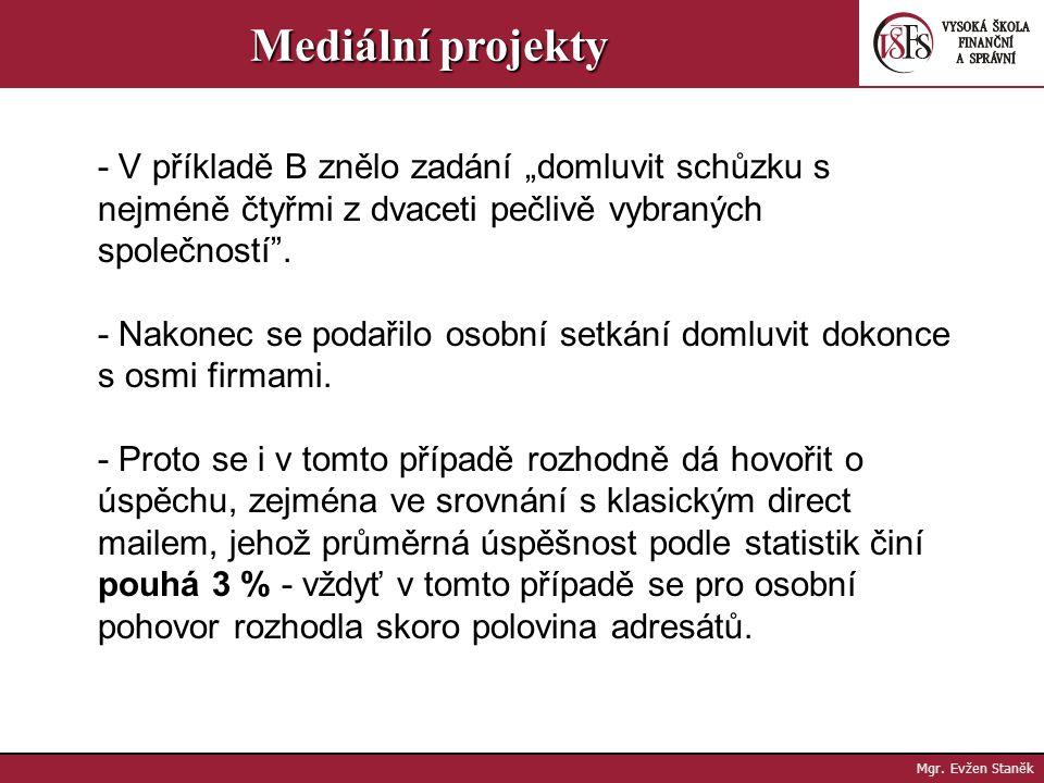 """Mediální projekty - V příkladě B znělo zadání """"domluvit schůzku s nejméně čtyřmi z dvaceti pečlivě vybraných společností ."""