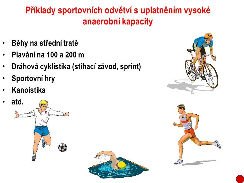 Příklady sportovních odvětví s uplatněním vysoké anaerobní kapacity