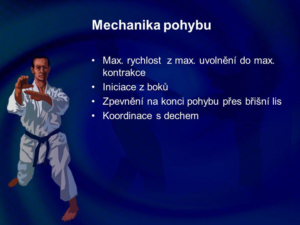 Mechanika pohybu Max. rychlost z max. uvolnění do max. kontrakce