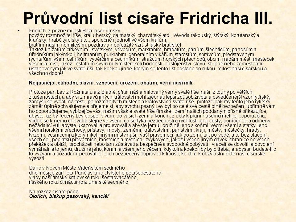 Průvodní list císaře Fridricha III.