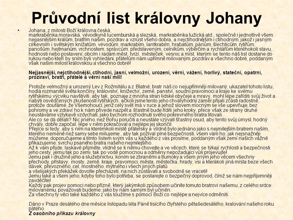 Průvodní list královny Johany