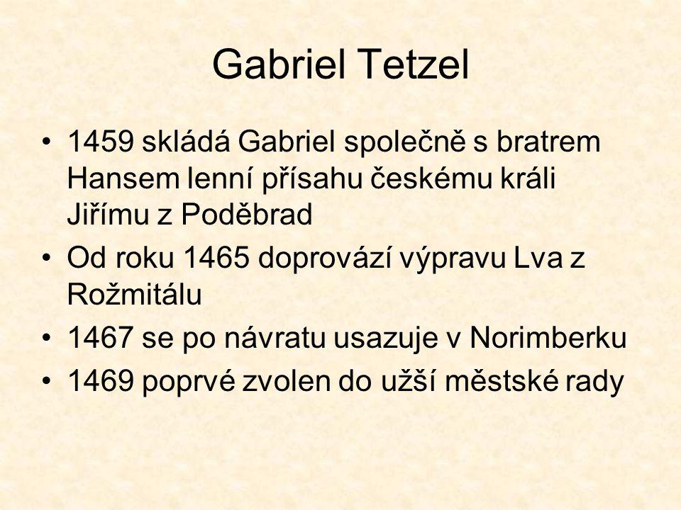 Gabriel Tetzel 1459 skládá Gabriel společně s bratrem Hansem lenní přísahu českému králi Jiřímu z Poděbrad.