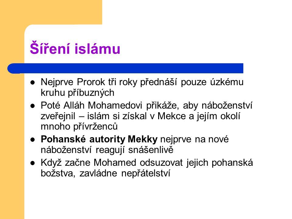Šíření islámu Nejprve Prorok tři roky přednáší pouze úzkému kruhu příbuzných.