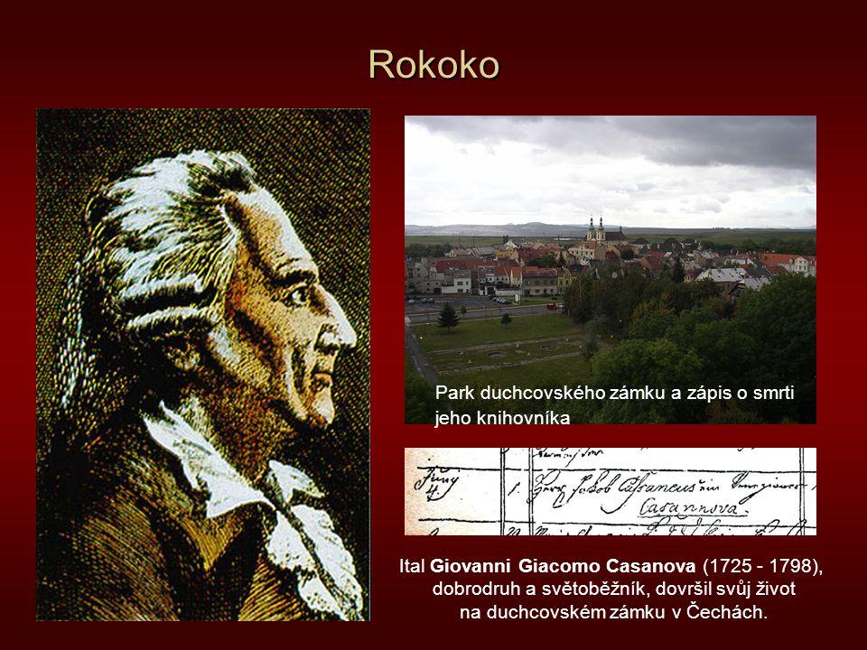 Rokoko Park duchcovského zámku a zápis o smrti jeho knihovníka