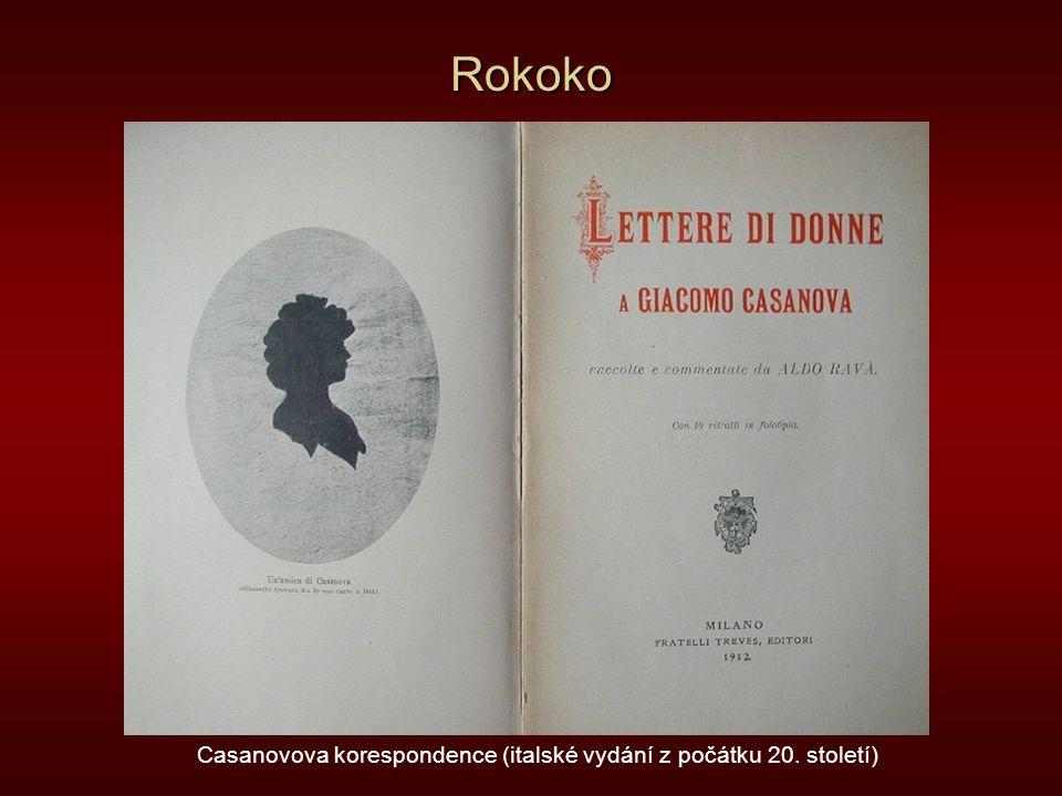 Rokoko Casanovova korespondence (italské vydání z počátku 20. století)