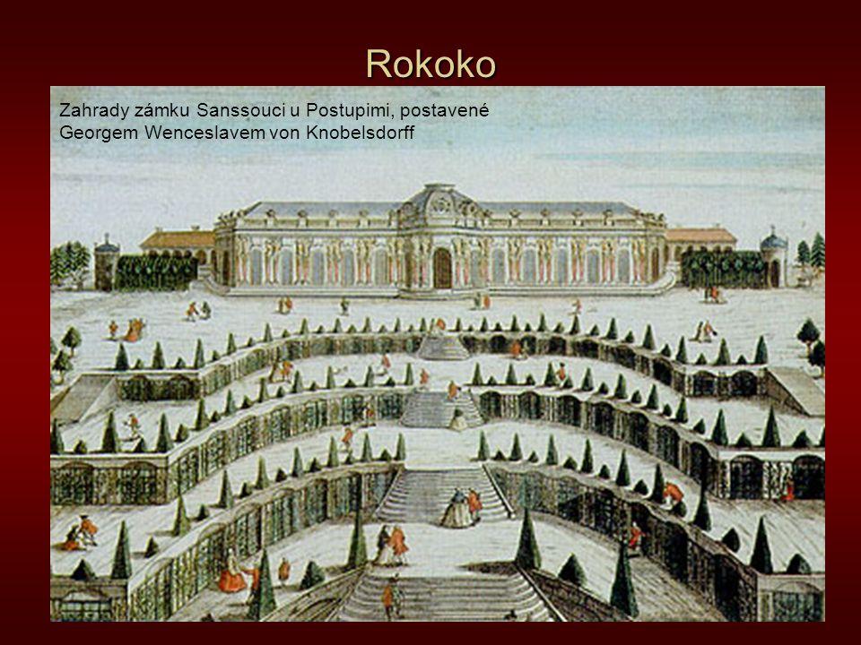 Rokoko Zahrady zámku Sanssouci u Postupimi, postavené