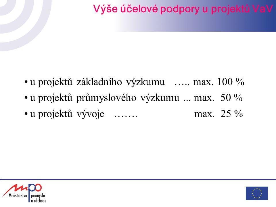 Výše účelové podpory u projektů VaV