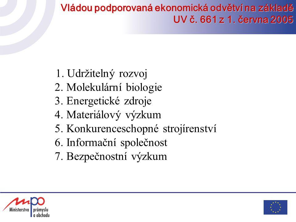 5. Konkurenceschopné strojírenství 6. Informační společnost