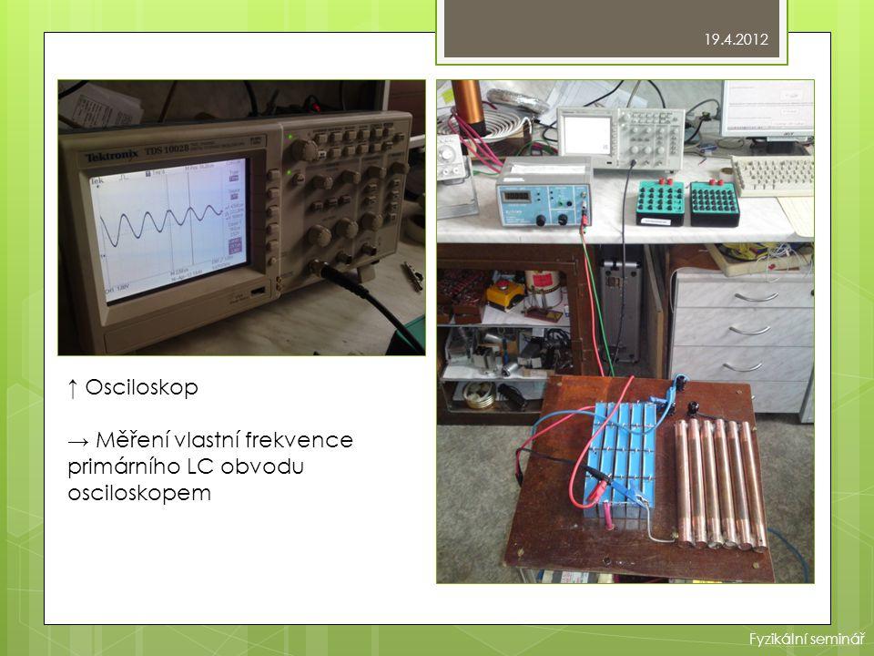 → Měření vlastní frekvence primárního LC obvodu osciloskopem