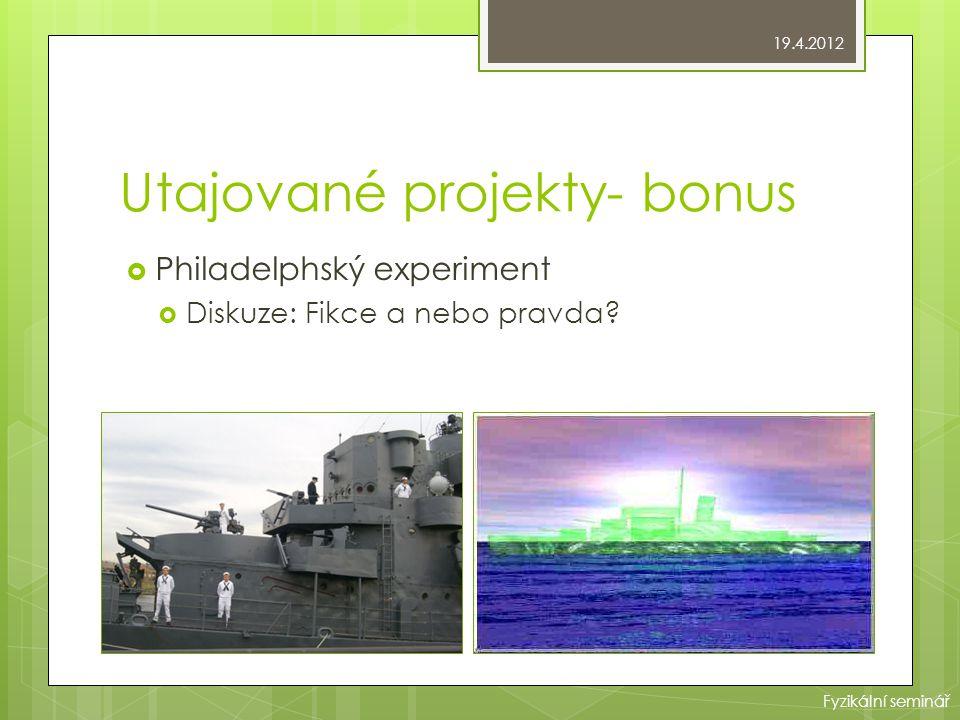 Utajované projekty- bonus