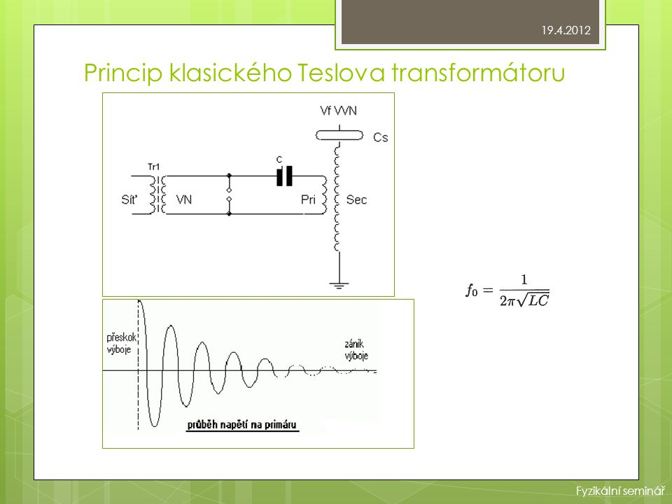 Princip klasického Teslova transformátoru