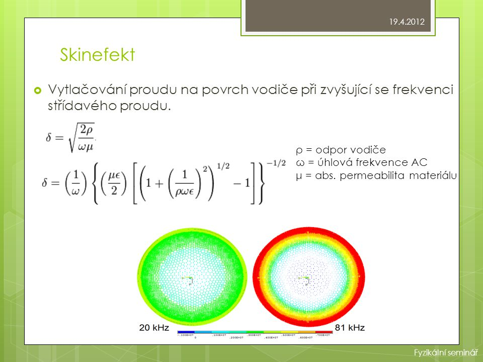 19.4.2012 Skinefekt. Vytlačování proudu na povrch vodiče při zvyšující se frekvenci střídavého proudu.