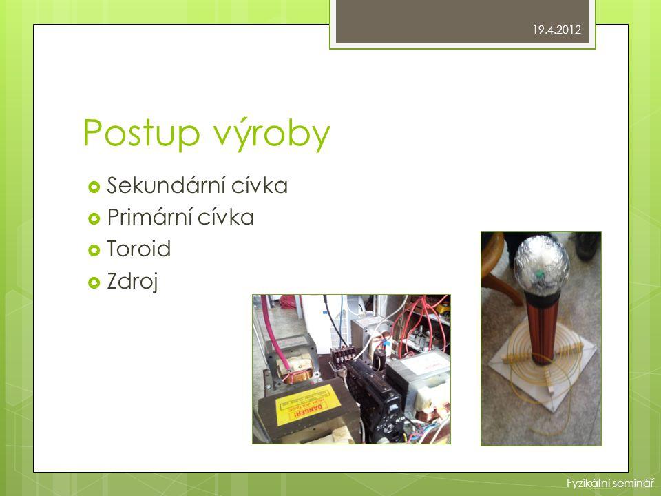Postup výroby Sekundární cívka Primární cívka Toroid Zdroj 19.4.2012