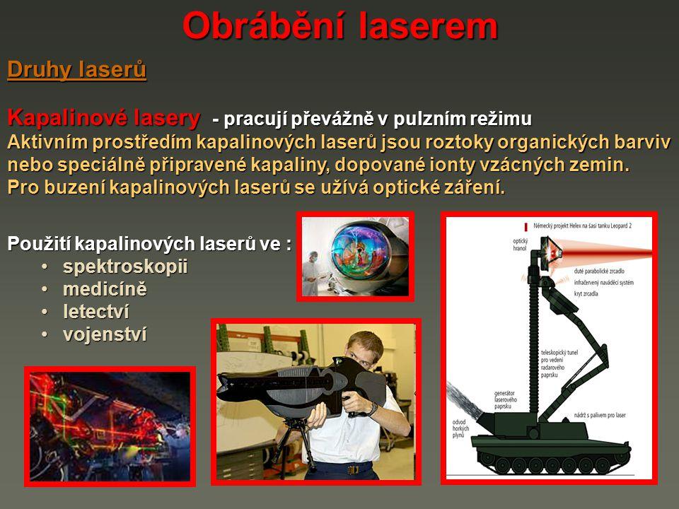 Obrábění laserem Druhy laserů