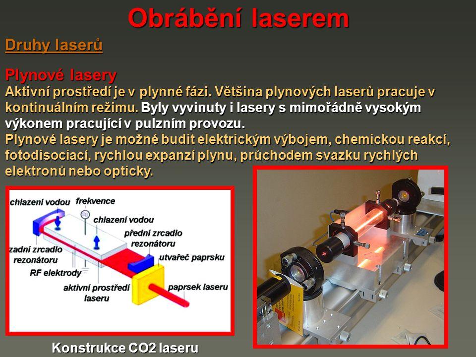 Obrábění laserem Druhy laserů Plynové lasery