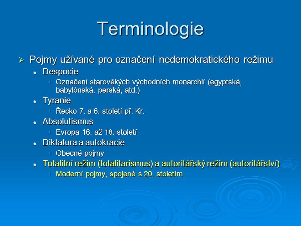 Terminologie Pojmy užívané pro označení nedemokratického režimu