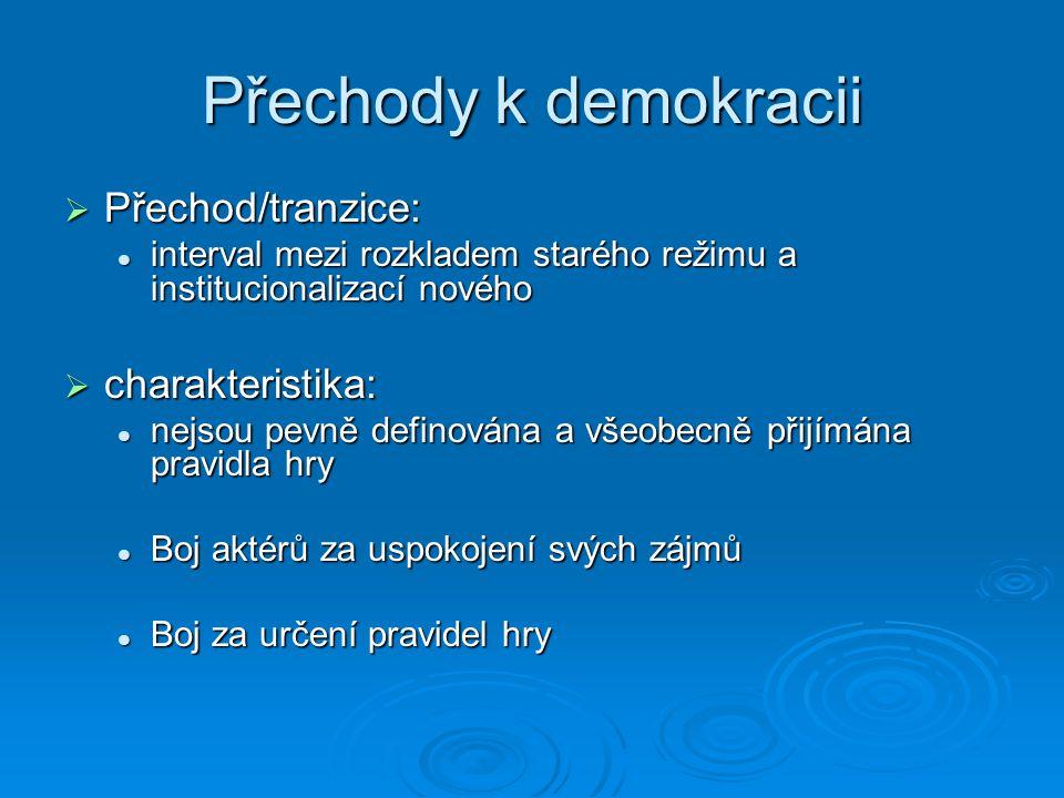 Přechody k demokracii Přechod/tranzice: charakteristika: