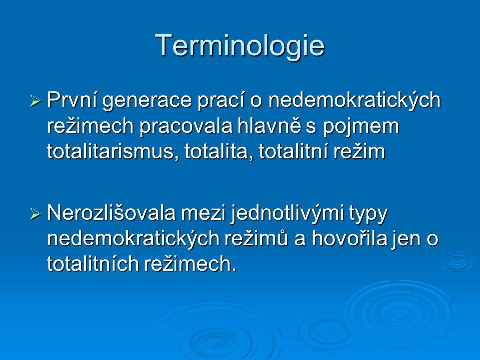 Terminologie První generace prací o nedemokratických režimech pracovala hlavně s pojmem totalitarismus, totalita, totalitní režim.