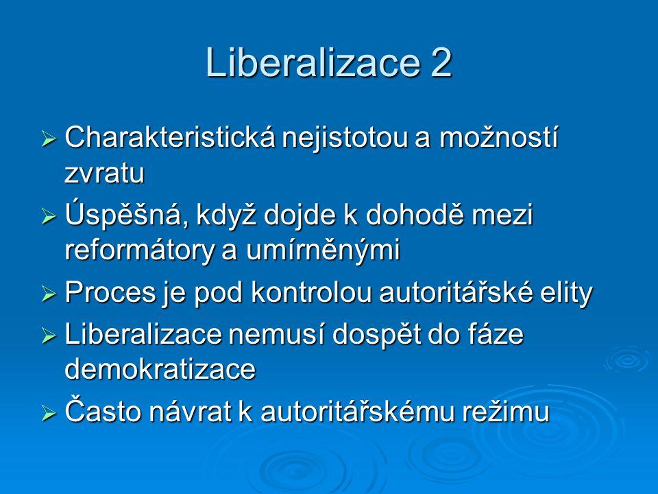 Liberalizace 2 Charakteristická nejistotou a možností zvratu
