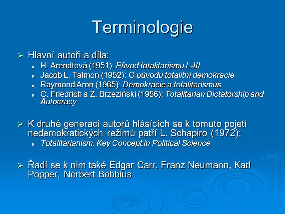 Terminologie Hlavní autoři a díla: