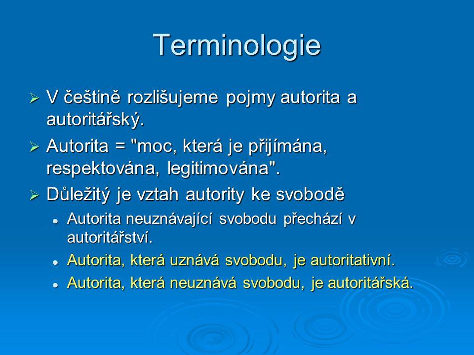 Terminologie V češtině rozlišujeme pojmy autorita a autoritářský.