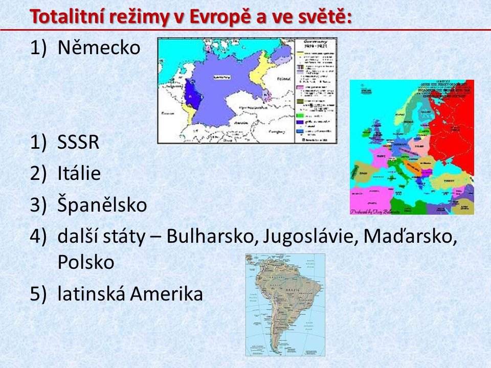 Totalitní režimy v Evropě a ve světě: