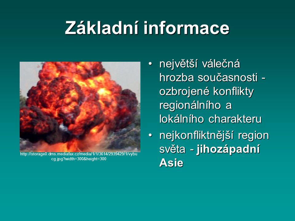Základní informace největší válečná hrozba současnosti - ozbrojené konflikty regionálního a lokálního charakteru.
