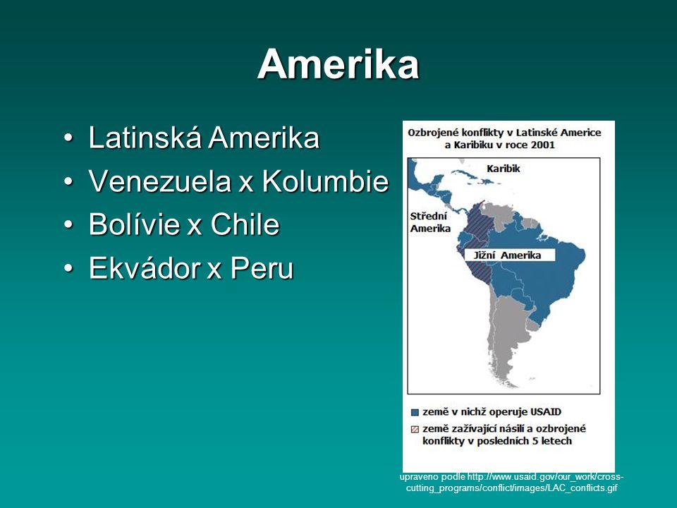 Amerika Latinská Amerika Venezuela x Kolumbie Bolívie x Chile