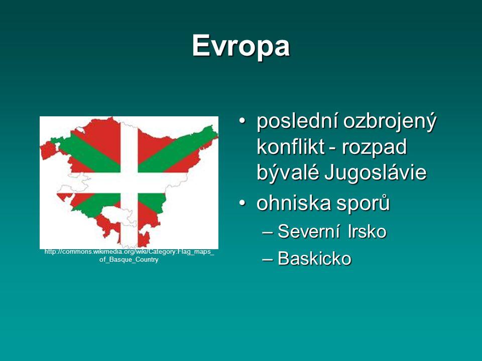 Evropa poslední ozbrojený konflikt - rozpad bývalé Jugoslávie