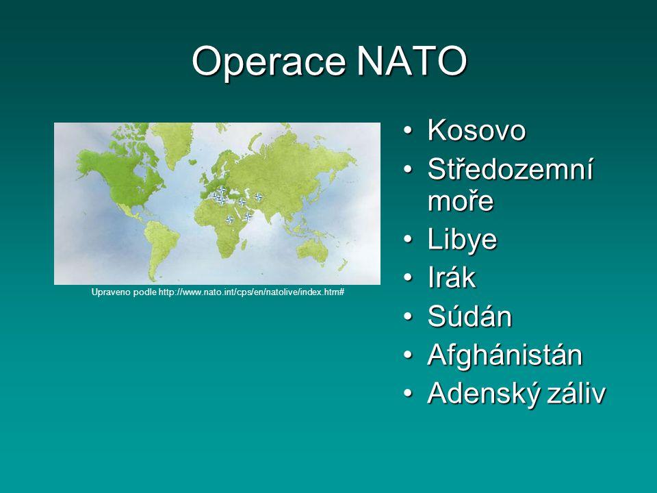 Operace NATO Kosovo Středozemní moře Libye Irák Súdán Afghánistán