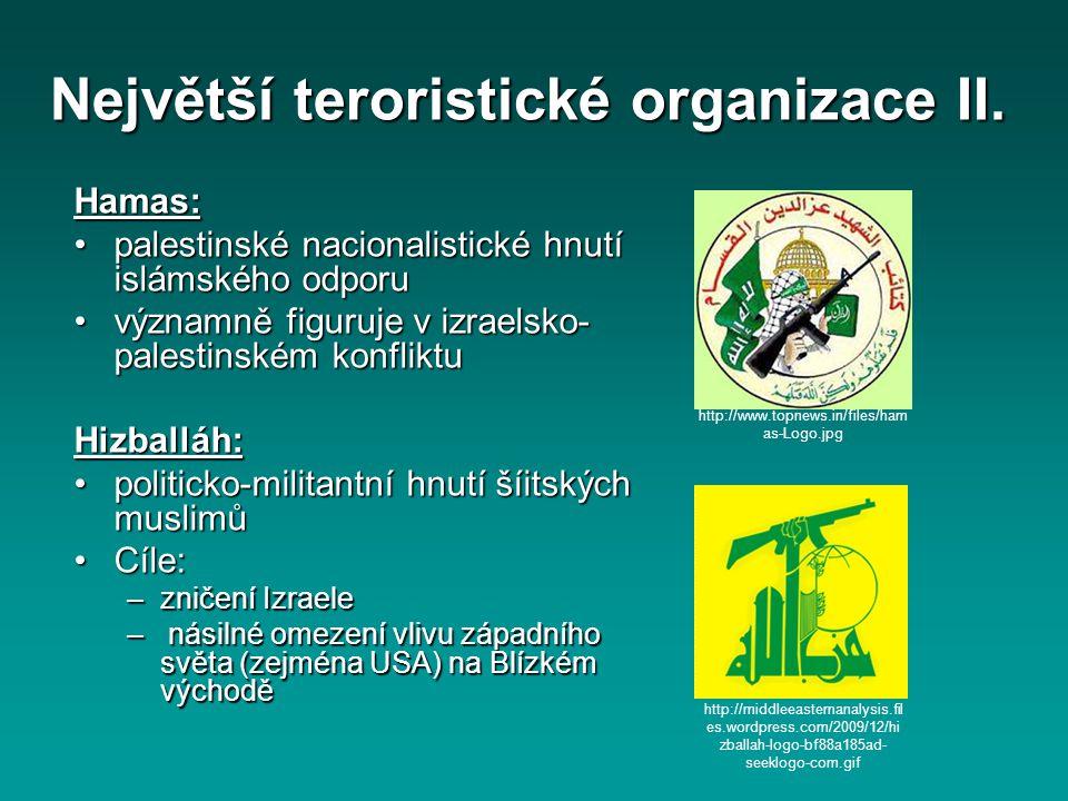 Největší teroristické organizace II.