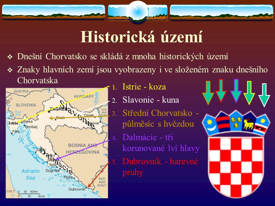 Historická území Dnešní Chorvatsko se skládá z mnoha historických území. Znaky hlavních zemí jsou vyobrazeny i ve složeném znaku dnešního Chorvatska.