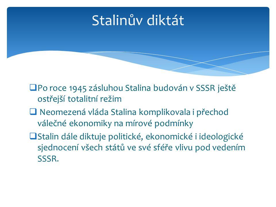 Stalinův diktát Po roce 1945 zásluhou Stalina budován v SSSR ještě ostřejší totalitní režim.