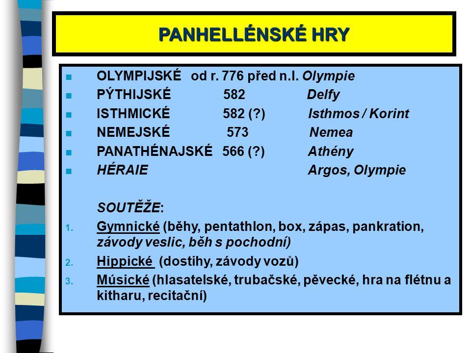 PANHELLÉNSKÉ HRY OLYMPIJSKÉ od r. 776 před n.l. Olympie