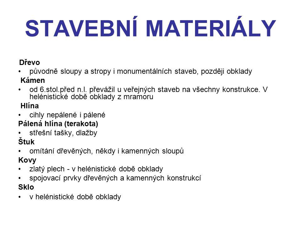STAVEBNÍ MATERIÁLY Dřevo. původně sloupy a stropy i monumentálních staveb, později obklady. Kámen.