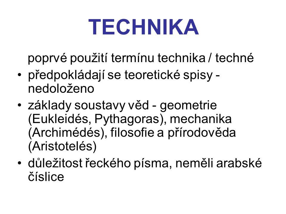 TECHNIKA poprvé použití termínu technika / techné