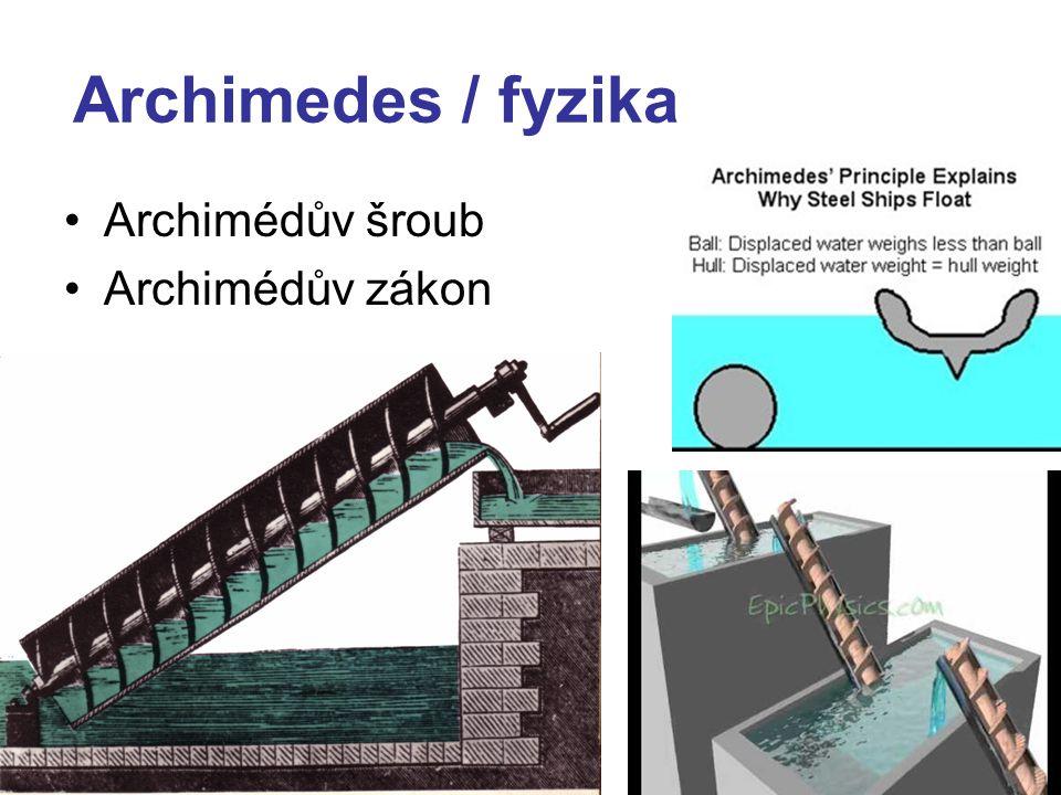 Archimedes / fyzika Archimédův šroub Archimédův zákon