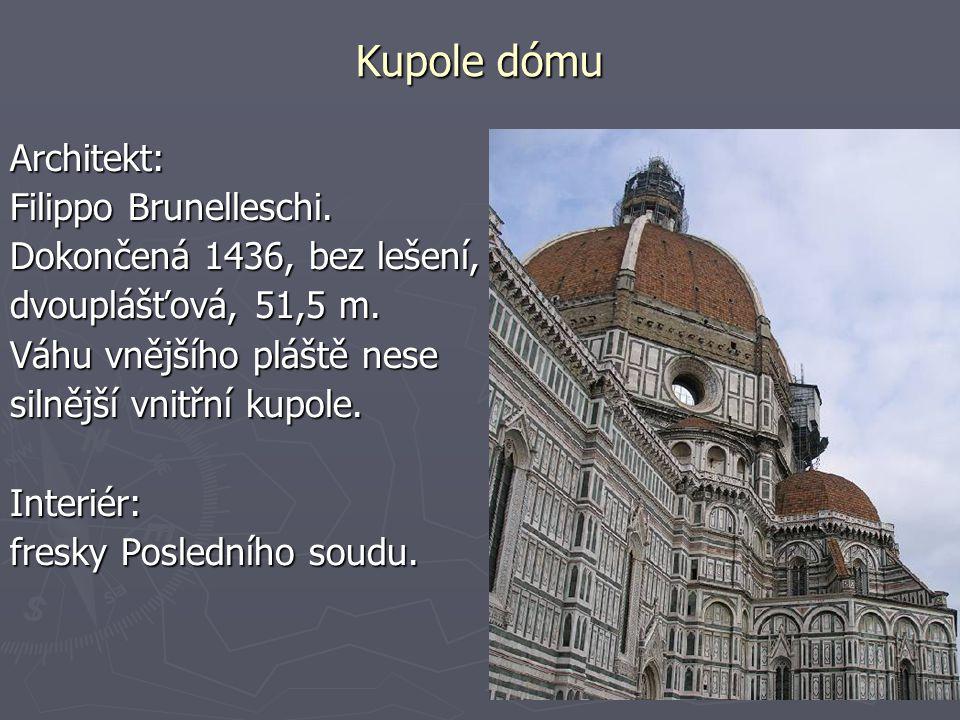 Kupole dómu Architekt: Filippo Brunelleschi.