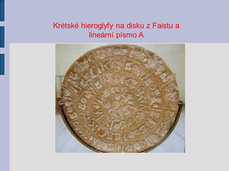Krétské hieroglyfy na disku z Faistu a lineární písmo A