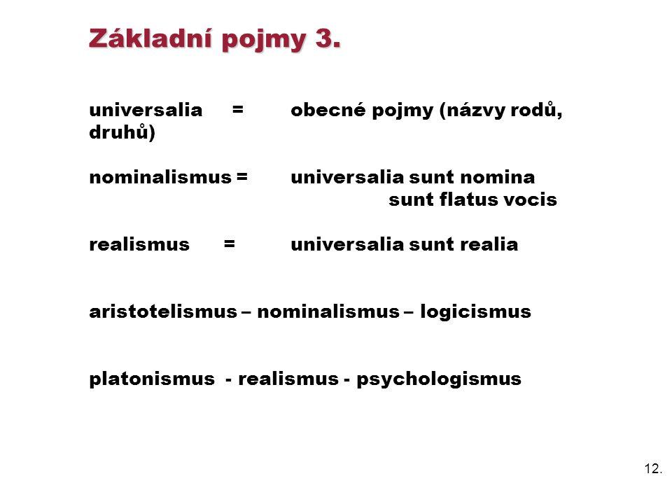 Základní pojmy 3. universalia = obecné pojmy (názvy rodů, druhů)