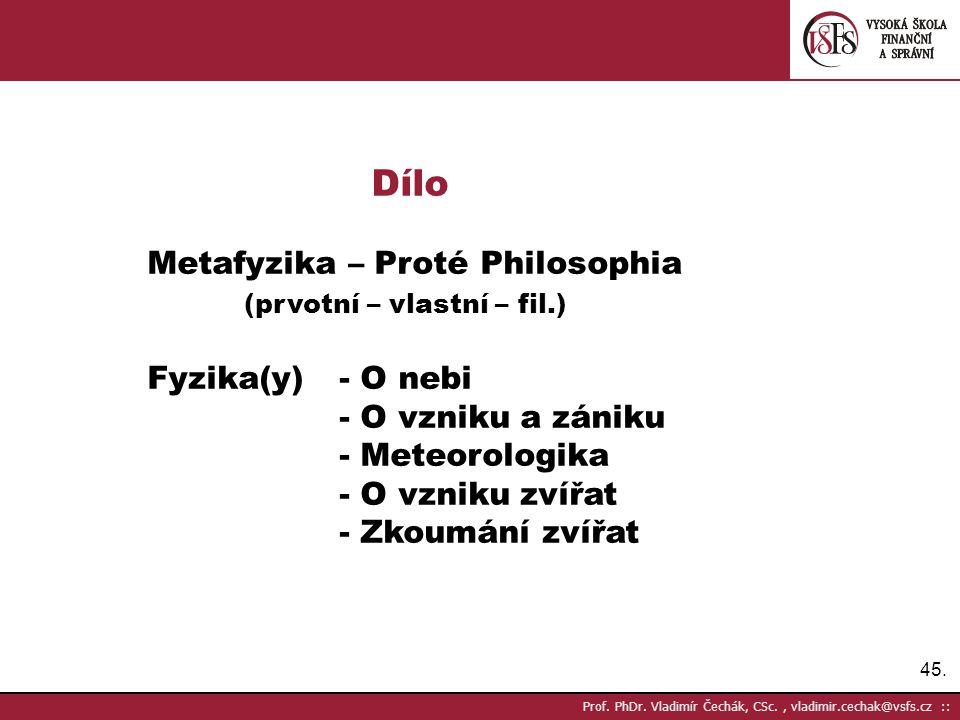 Dílo Metafyzika – Proté Philosophia (prvotní – vlastní – fil.)
