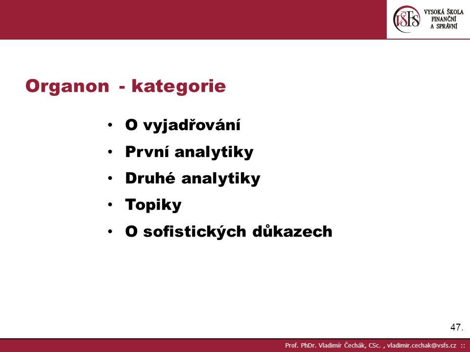 Organon - kategorie O vyjadřování První analytiky Druhé analytiky