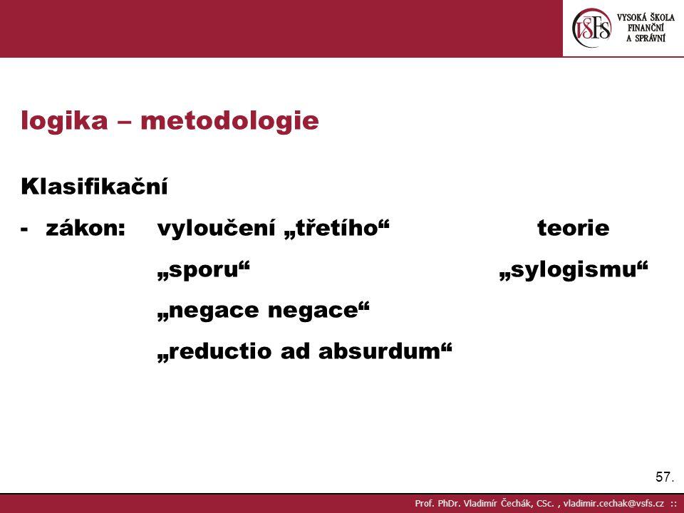 """logika – metodologie Klasifikační zákon: vyloučení """"třetího teorie"""