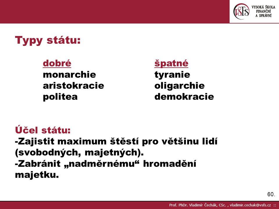 Typy státu: dobré špatné monarchie tyranie aristokracie oligarchie