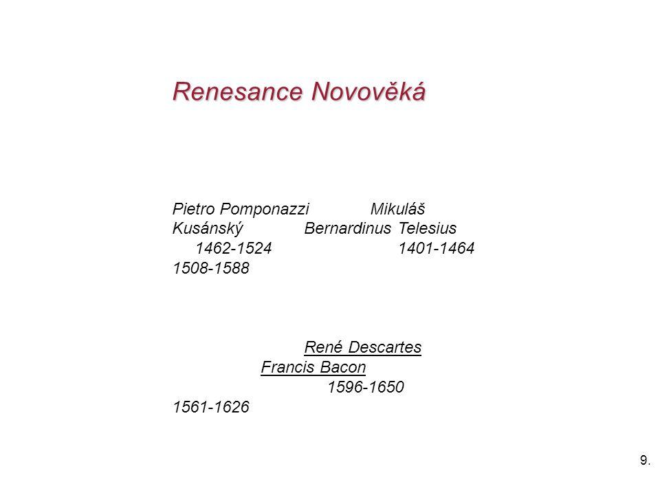 Renesance Novověká Pietro Pomponazzi Mikuláš Kusánský Bernardinus Telesius.