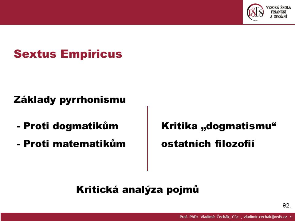 Sextus Empiricus Základy pyrrhonismu